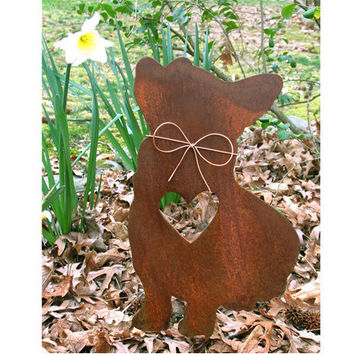Corgi Dog Metal Garden Stake - Metal Yard Art - Metal Garden Art - Pet Memorial - 1