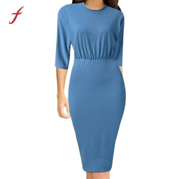 Feitong Casual Dresses Women Formal 3/4 Flare Sleeved Casual Solid Color Bodycon Elegant Sheath Mid-Calf Work Dress Vestidos