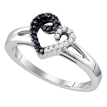 Sterling Silver Women's Round Black Color Enhanced Diamond Split-shank Heart Ring 1/6 Cttw - FREE Shipping (US/CAN)