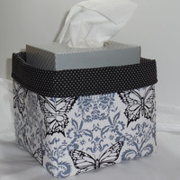 Beautiful White, Black and Gray Butterfly Fabric Basket