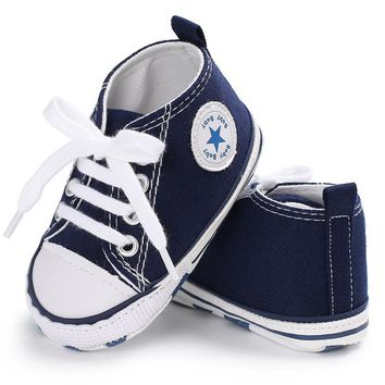 Spring Autumn Canvas Toddler Baby Shoes Girls Boys First Walkers  Baby Sneakers Lace Newborn Baby Moccasins Crib Shoes