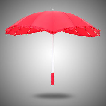 Stylish Strong Character Design Creative Lace Straight Rod Heart Christmas Umbrella [4918249028]