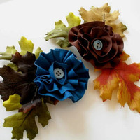 Fall Fabric Flower Brooches in Brown & Blue