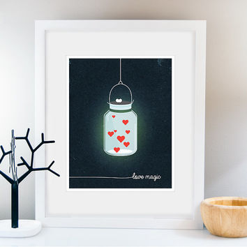 Mason Jar Print, Kitchen Love Poster, Heart, Valentines day, Wedding gift, Gift of Love, Home decor, Nursery Art, Rustic Vintage wall art.