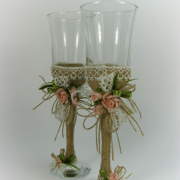 Rustic Style Wedding Glasses, Rustic Wedding, Vintage Wedding, Roses, Toasting Flutes, Champagne Glasses, Wine Glasses