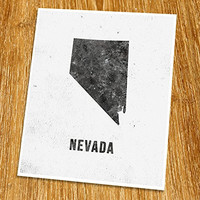 "Nevada Print (Unframed), Industrial, Loft, Modern Map Art, Cafe, Black and White, 8x10"", TE-028"