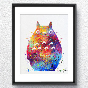 My neighbor Totoro inspired Watercolor illustrations Art Print Poster Handmade Wall Decor Art Home Decor Wall Hanging Item 080