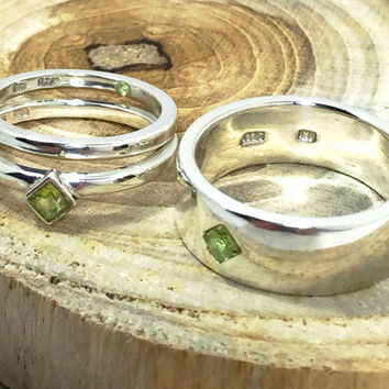Sterling Silver Peridot Wedding Bands - Unique Gemstone Engagement Rings - Men and Womens Wedding Bands