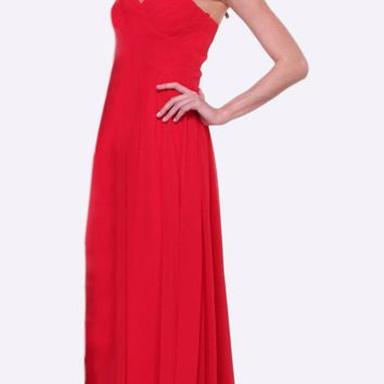 Long Bridesmaid Red Dress Empire Waist Pleated Bodice