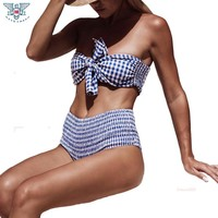Sexy Bandeau Bikini 2018 Plaid Folds Swimsuit Women Padded Swimwear Female Maillot De Bain Biquini Bathing Suit Beach Wear