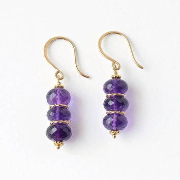 Amethyst Drop Earrings / Purple Gemstone Earrings / Amethyst Jewelry / Gold Amethyst Earrings / Gemstone Beaded Earrings / Stacked Earrings