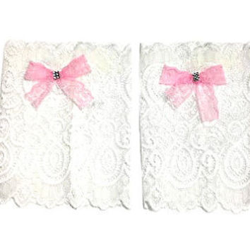 White Floral Scalloped Stretch Lace Pink Bow Peek a Boo Boot Cuffs Lacey Boot Cuffs Boot Toppers