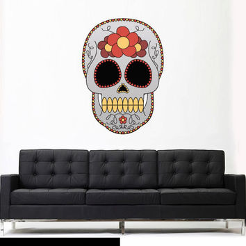 Full Color Wall Decal Mural Sticker Decor Art Beautyfull Cute Sugar Skull Bedroom Curly modern fashion (col589)