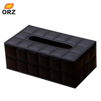Tissue Paper Boxes Black Leather Pu Facial Napkin Cover Organizer Office Car Household Toilet Paper Holder Container Tissue Box