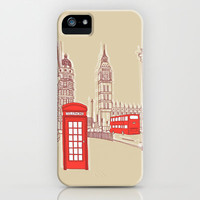 City Life // London Red Telephone Box iPhone & iPod Case by BLUEBUTTON STUDIO