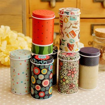 1pcs Cans Korean Pastoral Iron Storage Tank Box Round Sealed Cans Coffee Tea Tin Container KT0378