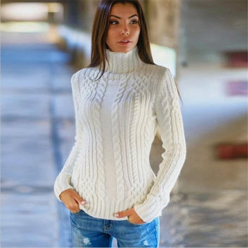 Cable High-neck Solid Slim Pullover Short Sweater