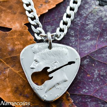 Guitar Pick Necklace, cut and burnished from a quarter, hand cut coin by Namecoins