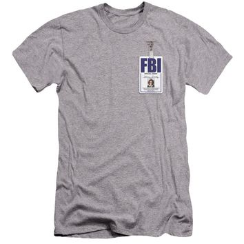 X Files - Scully Badge Premium Canvas Adult Slim Fit 30/1 Shirt Officially Licensed T-Shirt