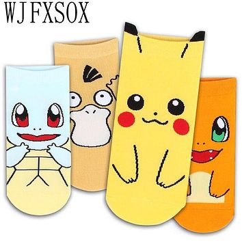 WJFXSOX 4 pairs Cute Pokemon 3D Printed Female Socks Leisure Socks Pikachu Cotton Funny Socks Craft Gift Calcetines Casual Socks