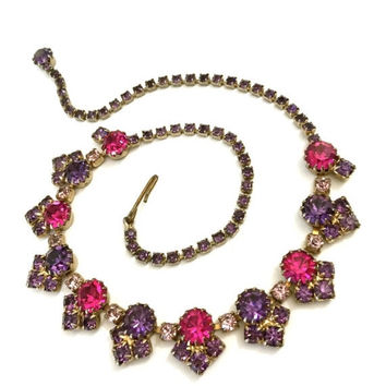 Weiss Rhinestone Necklace, Fuchsia Purple and Lilac Rhinestones, Wedding Jewelry, Vintage Bridal, Special Occasion