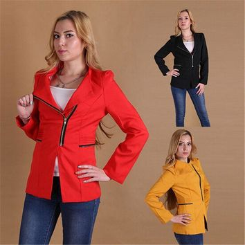 PEAPGB2 Women Autumn Blazer Long Sleeve Zipper Suit Patchwork Casual Slim Office Outwear Solid Color Blazer Suit Autumn Winter Suit