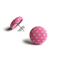 Pink Polka Dot Earrings, Fabric Earrings, Pink and White Fabric, Fabric Earring, Polka Dot Earrings, Polka Dot Fabric, Polkadot Fabric