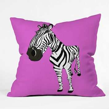 Casey Rogers Zebra Throw Pillow