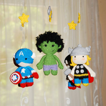 Baby mobile Superhero for boy Crochet baby crib mobile  Super Heroes mobile Cott mobile Super heroes bedding Nursery super heroes mobile