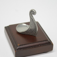Tiny Pewter Viking Ship Prow Figurine on Wood Pedestal in Box