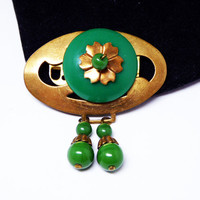 Vintage Art Deco Oval Brooch - Green and Brass Tone - Dangling Green Beads - Flower Center Piece with Glass Bead - 1920's 1930's Era