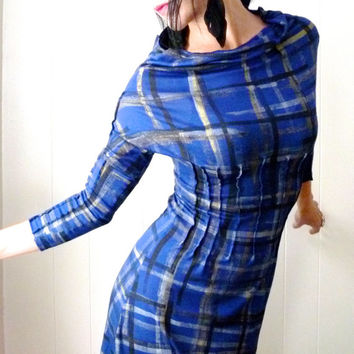 Beat of Your Own Drum - iheartfink Handmade Hand Printed Womens Fashion Plaid Art Silky Rayon Wearable Art Retro Futuristic Dress