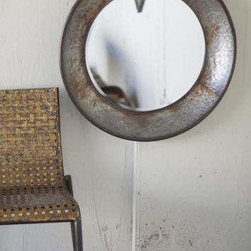 Large Round Metal Mirror- Natural Metal
