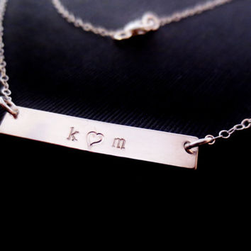 Silver Personalized Bar Necklace, Name Initials Handstamped Sterling, Wedding Baby Shower, Valentines Mothers Day