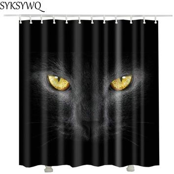High Quality Black Cat Printed Shower Curtain - Waterproof Polyester Fabric Bathroom Curtain