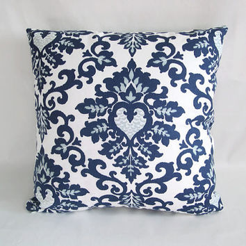 Decorative Pillows, Navy Blue and White from AntiqueAndCrafts on