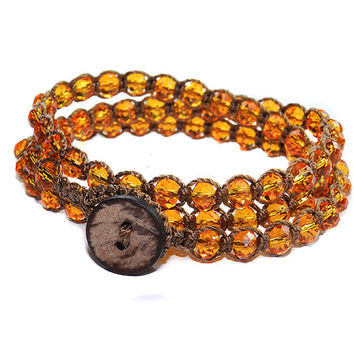 Autumn Fall themed, Orange, Rondelle Crystal, stacking macrame wrap bracelet, anklet and necklace