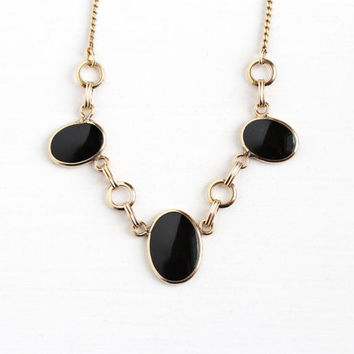Vintage 12k Rosy Yellow Gold Filled Black Onyx Gem Necklace -  Retro 1950s Oval Black Onyx Chalcedony Gemstone Statement Three Stone Jewelry