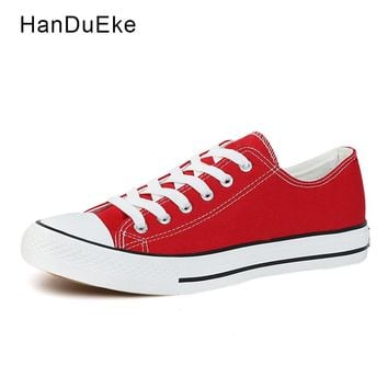 Classic Women Canvas Shoes Female Casual Sneakers for Woman Round Toe Lace Up Solid Red White Black Blue Plus Large Size 43 44