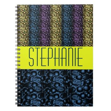 Purple/Blue Striped Glam Customizable Notebook