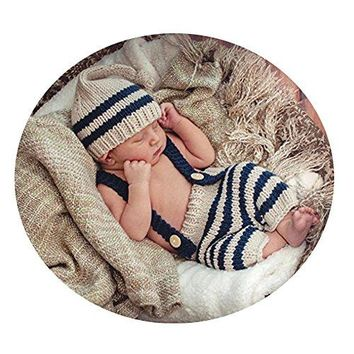 A Newborn Baby Photography Props Boy Girl Crochet Costume Outfits Cute Hat Pants