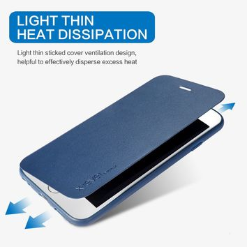 X-Level Luxury PU Leather Case For iPhone 6 6S Business Flip Phone Case for iPhone 8 7 PLUS X Stand Case iPhone6 iPhone6S Cover