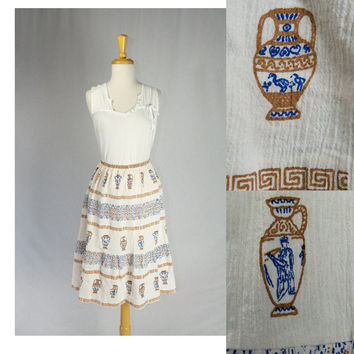Vintage Greek Skirt Novelty Print Tourist Souvenir Made in Greece