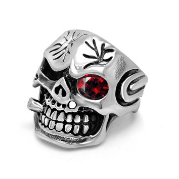 Stylish Jewelry Gift New Arrival Shiny Men Vintage Titanium Accessory Punk Skull Gemstone Ring [6526793731]