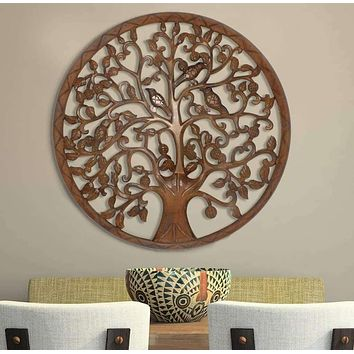 Circular Mango Wood Wall Panel with Cutout Tree and Bird Carvings, Antique Brown