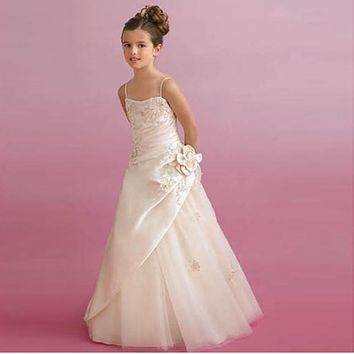 Competitive Price Ivory Spaghetti Straps A-line Girls' Dress With Appliques Professional Designer Vintage Style