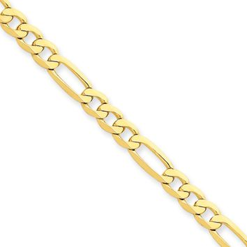 4.7mm, 14k Yellow Gold, Flat Figaro Chain Necklace, 20 Inch