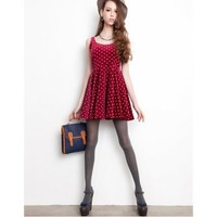 Polka Dot Vintage Corduroy Sleeveless Red Dress,FREE SHIPPING at www.reecn.com