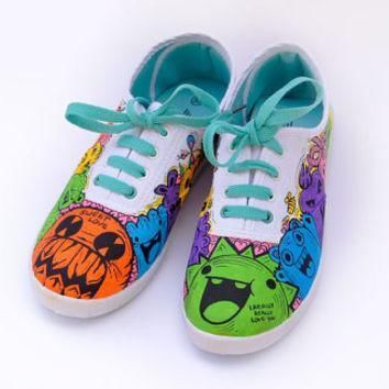 unique shoes funny doodle monsters hand painted shoes custom converse vans