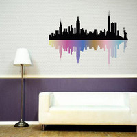 Fulcolor Wall Decal Vinyl Sticker Decals Art Decor Design Skyline City Statue Of Liberty NY New York  USA Map Bedroom Office Dorm (rcol13)